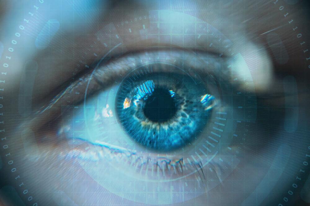 Obraz przedstawiający oko z różnymi pomiarami